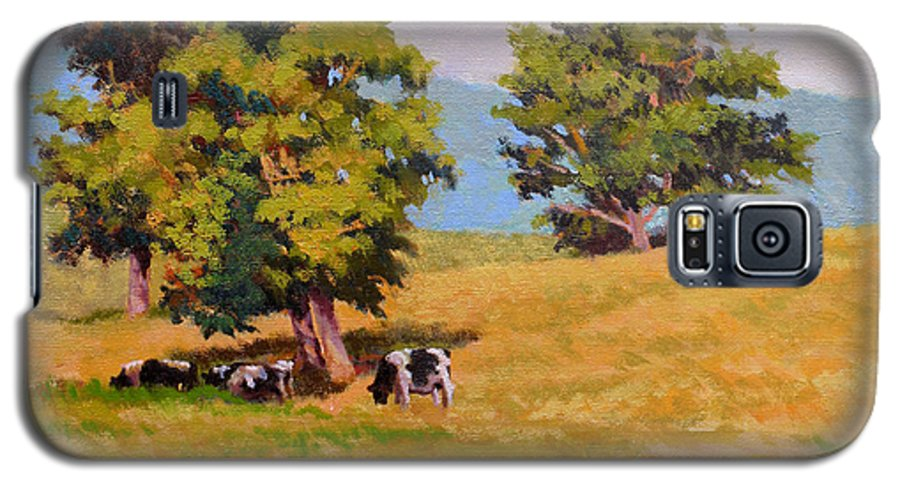 Landscape Galaxy S5 Case featuring the painting Five Oaks by Keith Burgess