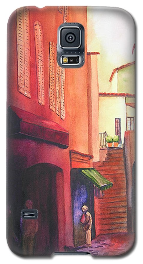 Europe Galaxy S5 Case featuring the painting Flag Over St. Tropez by Karen Stark