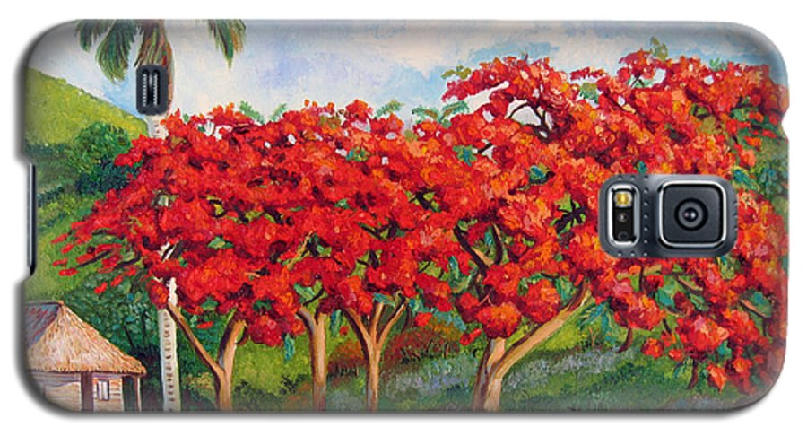 Cuban Art Galaxy S5 Case featuring the painting Flamboyans by Jose Manuel Abraham