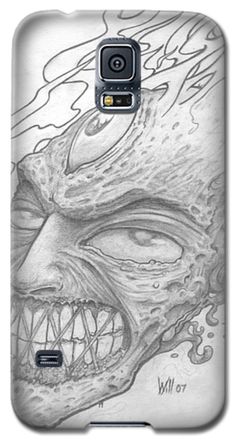 Zombie Galaxy S5 Case featuring the drawing Flamehead by Will Le Beouf