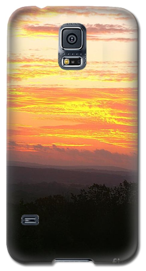 Sunrise Galaxy S5 Case featuring the photograph Flaming Autumn Sunrise by Nadine Rippelmeyer