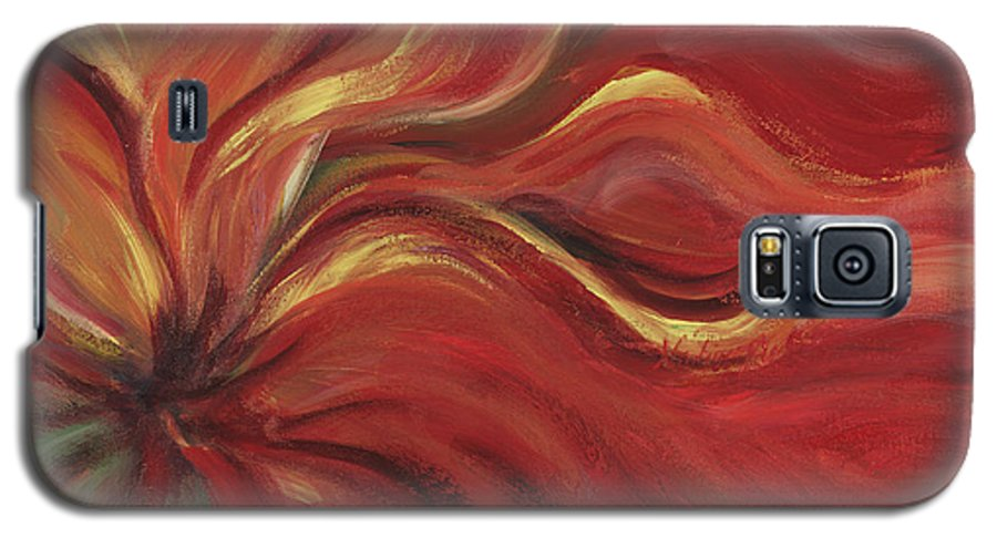 Red Galaxy S5 Case featuring the painting Flaming Flower by Nadine Rippelmeyer