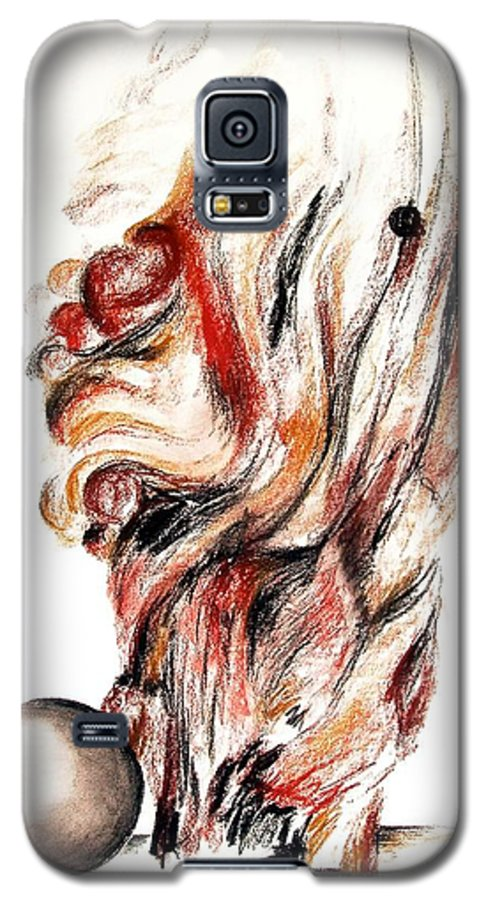Still Life Galaxy S5 Case featuring the drawing Flamme En Bois by Muriel Dolemieux