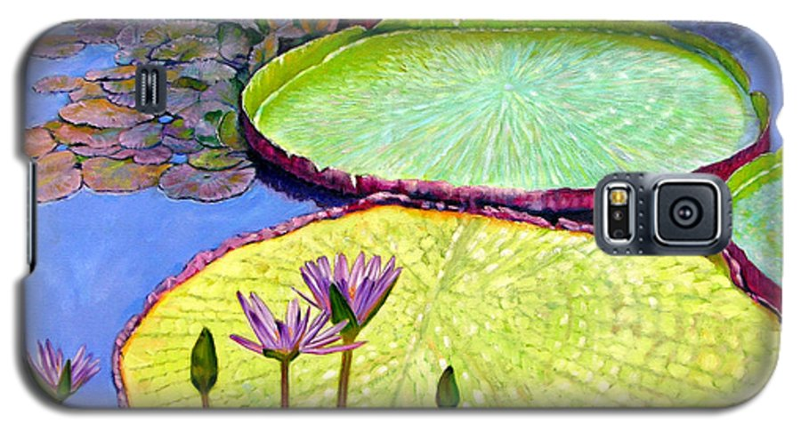 Garden Pond Galaxy S5 Case featuring the painting Floating Galaxies by John Lautermilch