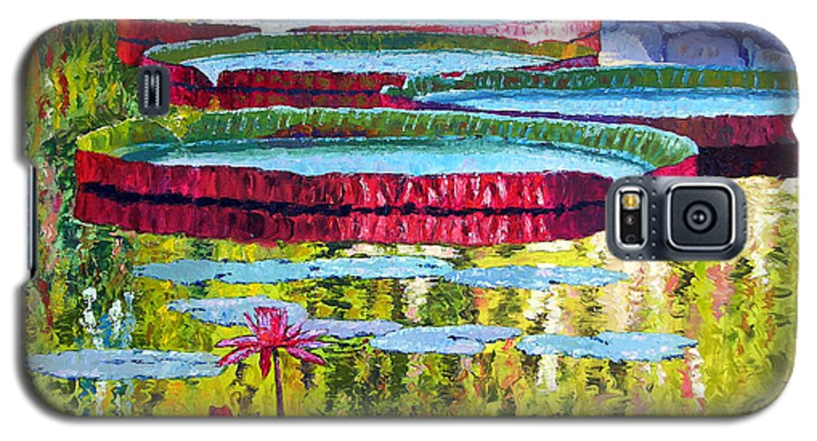 Lily Pond Galaxy S5 Case featuring the painting Floating Parallel Universes by John Lautermilch