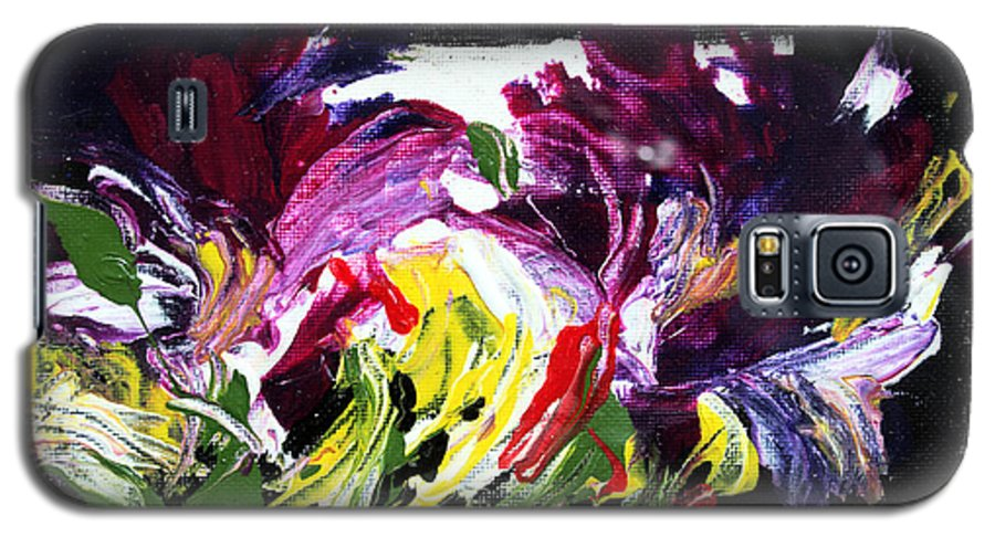 Abstract Galaxy S5 Case featuring the painting Floral Flow by Mario Zampedroni