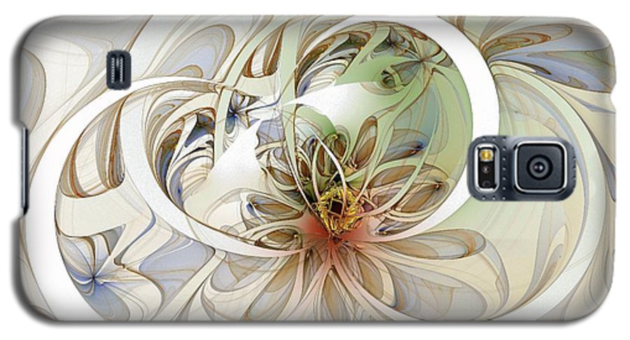 Digital Art Galaxy S5 Case featuring the digital art Floral Swirls by Amanda Moore