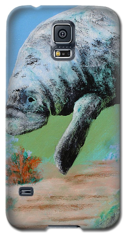 Florida Galaxy S5 Case featuring the painting Florida Manatee by Susan Kubes