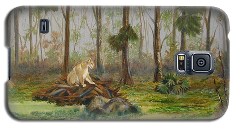 Florida Galaxy S5 Case featuring the painting Florida Panther by Susan Kubes