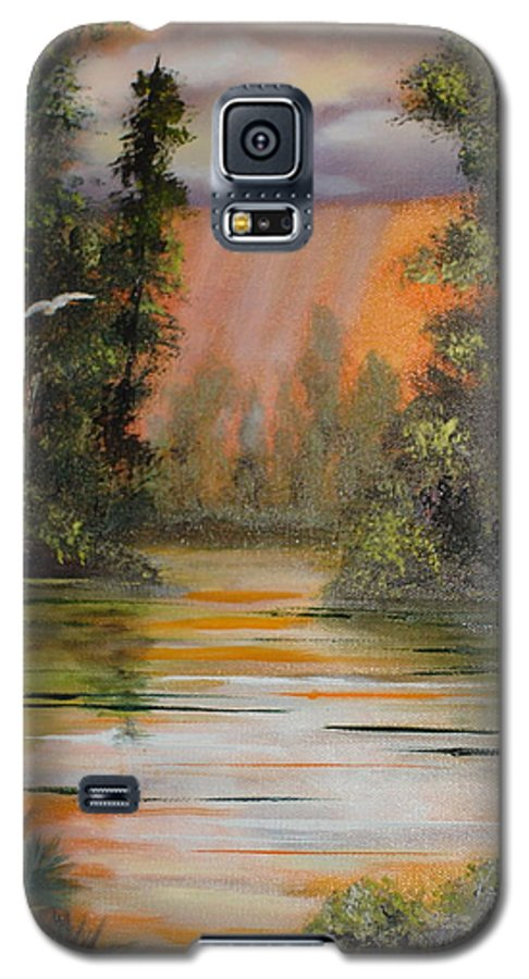 Landscape Galaxy S5 Case featuring the painting Florida Thunderstorm by Susan Kubes