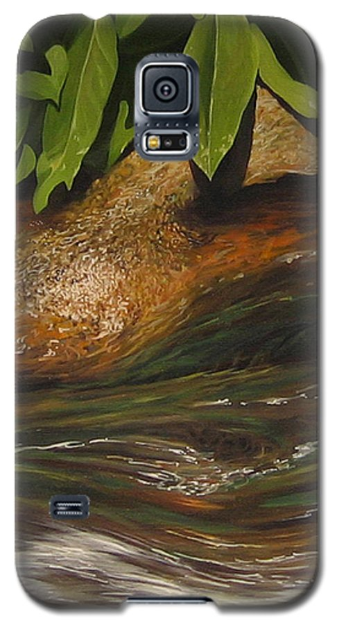 Colorado Mountain Stream Galaxy S5 Case featuring the painting Flow by Hunter Jay