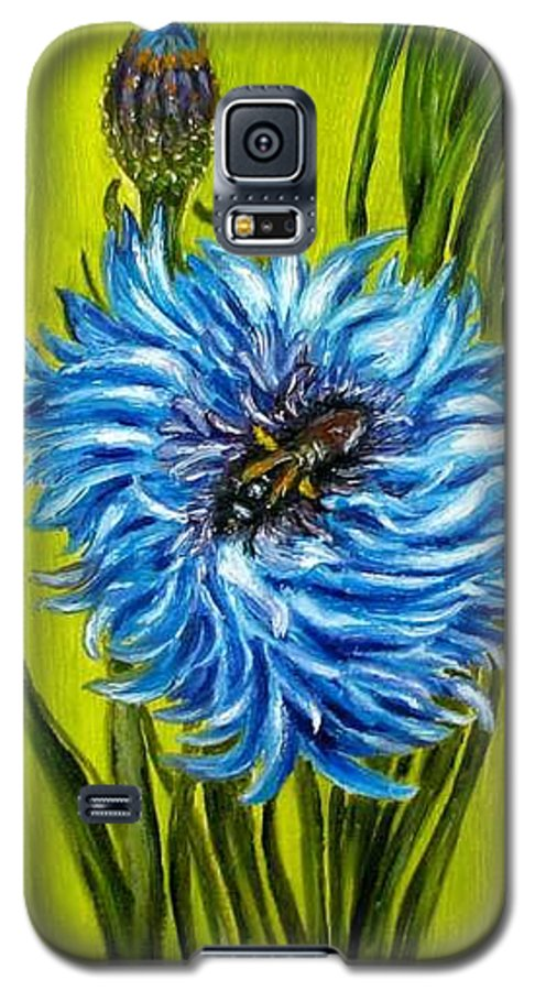 Flower Galaxy S5 Case featuring the painting Flower And Bee Oil Painting by Natalja Picugina