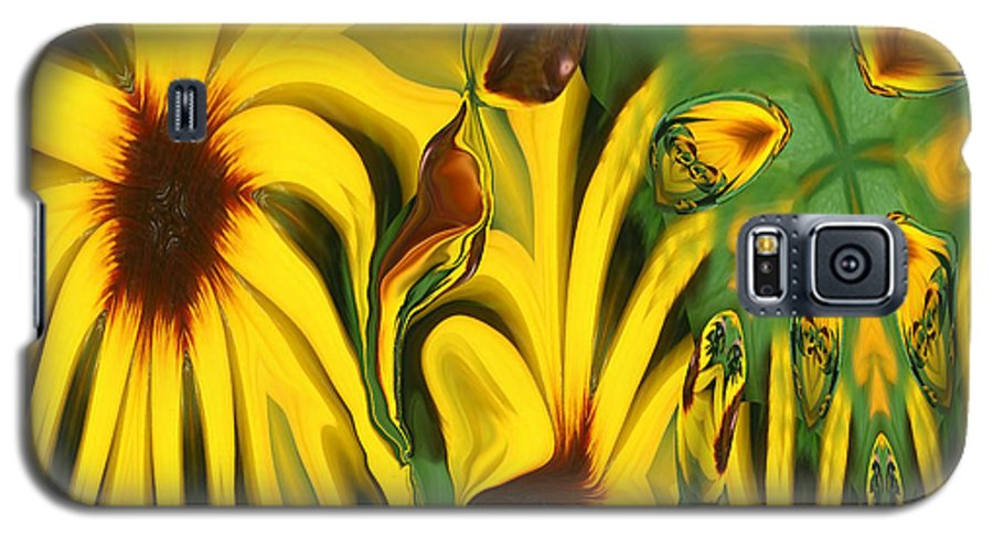 Abstract Galaxy S5 Case featuring the photograph Flower Fun by Linda Sannuti