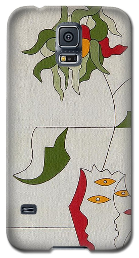 Flower Modern Constructivisme Special Original Galaxy S5 Case featuring the painting Flower by Hildegarde Handsaeme