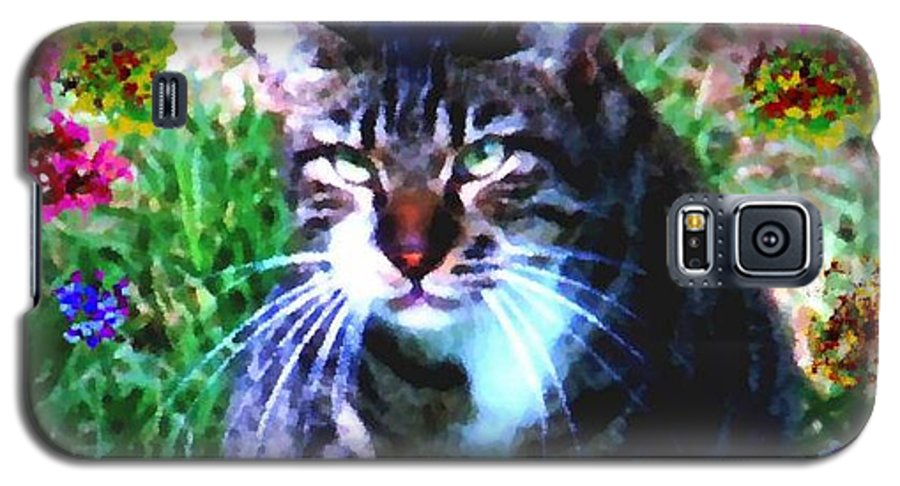 Cat Grey Attention Grass Flowers Nature Animals View Galaxy S5 Case featuring the digital art Flowers And Cat by Dr Loifer Vladimir