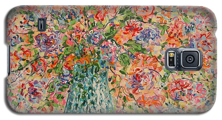 Flowers Galaxy S5 Case featuring the painting Flowers In Crystal Vase. by Leonard Holland
