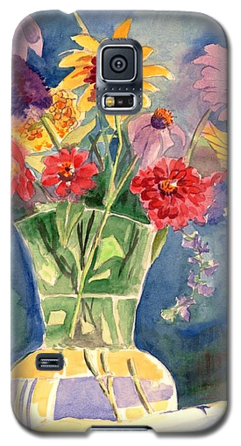 Flowers In Glass Vase Galaxy S5 Case featuring the painting Flowers In Glass Vase by Judy Swerlick