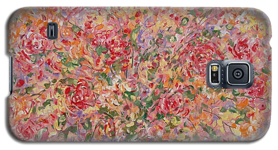 Flowers Galaxy S5 Case featuring the painting Flowers In Purple Vase. by Leonard Holland