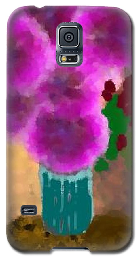 Flowers.colors.llilac.red.rose.green.blue.room.flower Vase.leaves Galaxy S5 Case featuring the digital art Flowers In Room by Dr Loifer Vladimir