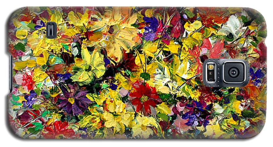 Flowers Galaxy S5 Case featuring the painting Flowers by Mario Zampedroni