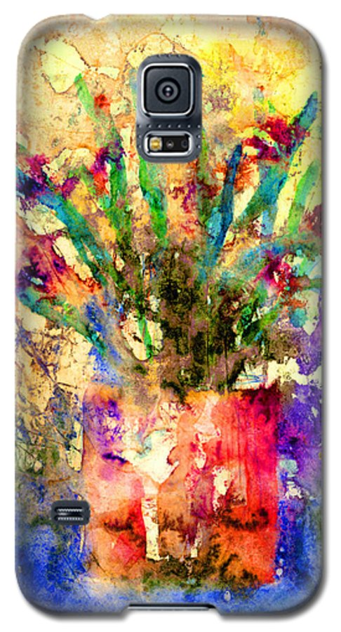 Flower Galaxy S5 Case featuring the mixed media Flowery Illusion by Arline Wagner