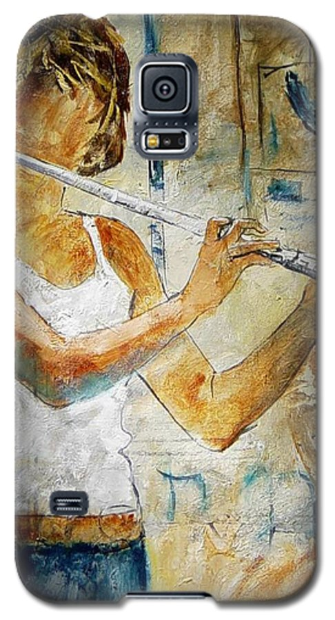 Music Galaxy S5 Case featuring the painting Flutist by Pol Ledent