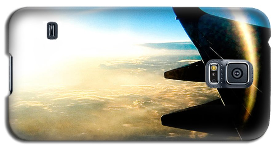 Plane Sky Sun Holga Color Photograph Galaxy S5 Case featuring the photograph Fly Like A Dolphin by Olivier De Rycke