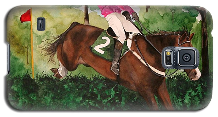 Horse Galaxy S5 Case featuring the painting Flying High by Jean Blackmer