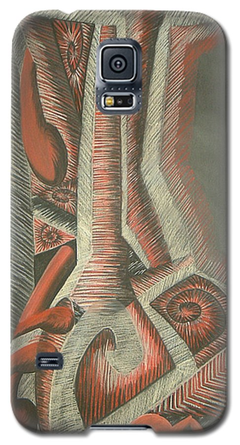 Abstract Galaxy S5 Case featuring the drawing Foot by Donald Burroughs