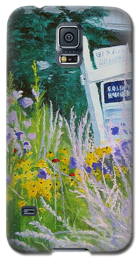 Landscape Galaxy S5 Case featuring the painting For Sale - A Patch Of Paradise by Lea Novak
