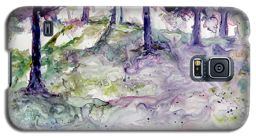 Fastasy Galaxy S5 Case featuring the painting Forest Fantasy by Jan Bennicoff