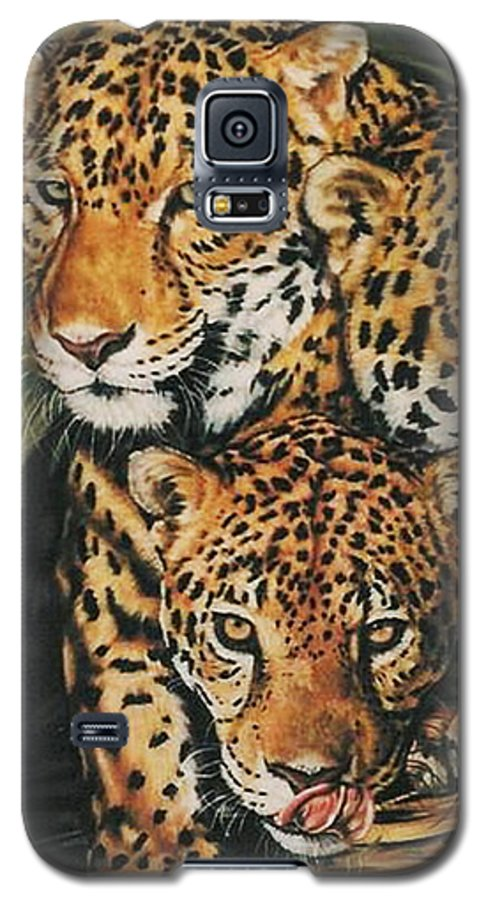 Jaguar Galaxy S5 Case featuring the pastel Forest Jewels by Barbara Keith