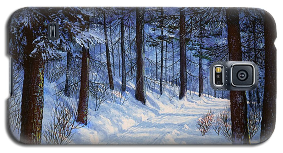 Landscape Galaxy S5 Case featuring the painting Forest Road by Frank Wilson