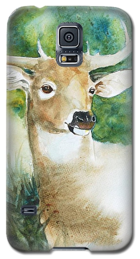 Deer Galaxy S5 Case featuring the painting Forest Spirit by Christie Michelsen