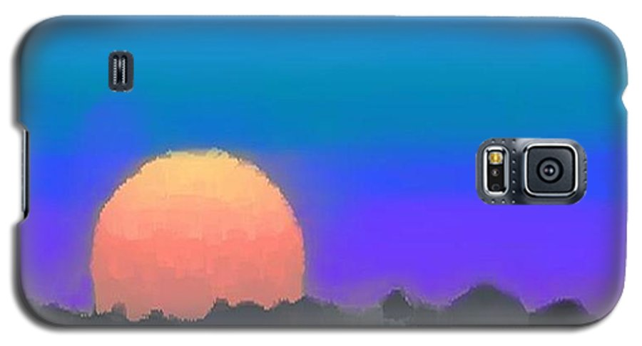 Evenung.sunset.sky.sun.background Forest.silence.rest Galaxy S5 Case featuring the digital art Forest Sunset. by Dr Loifer Vladimir
