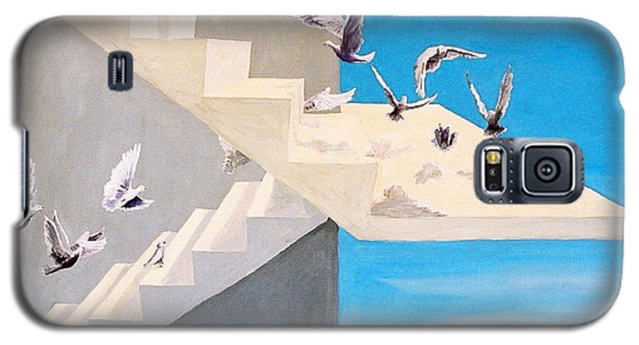 Birds Galaxy S5 Case featuring the painting Form Without Function by Steve Karol