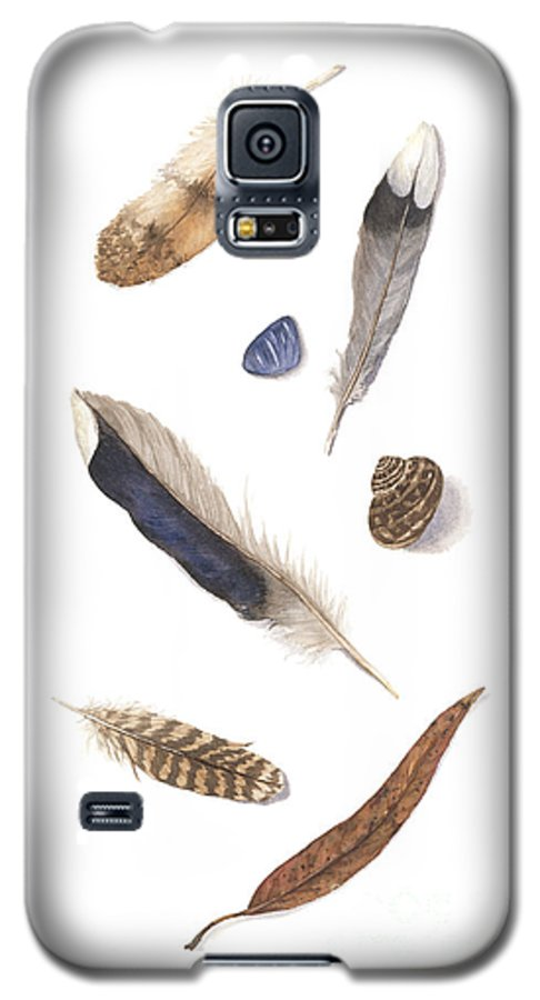 Feathers Galaxy S5 Case featuring the painting Found Treasures by Lucy Arnold