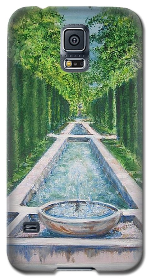 Fountain Galaxy S5 Case featuring the painting Fountain Palma De Mallorca Capital by Lizzy Forrester
