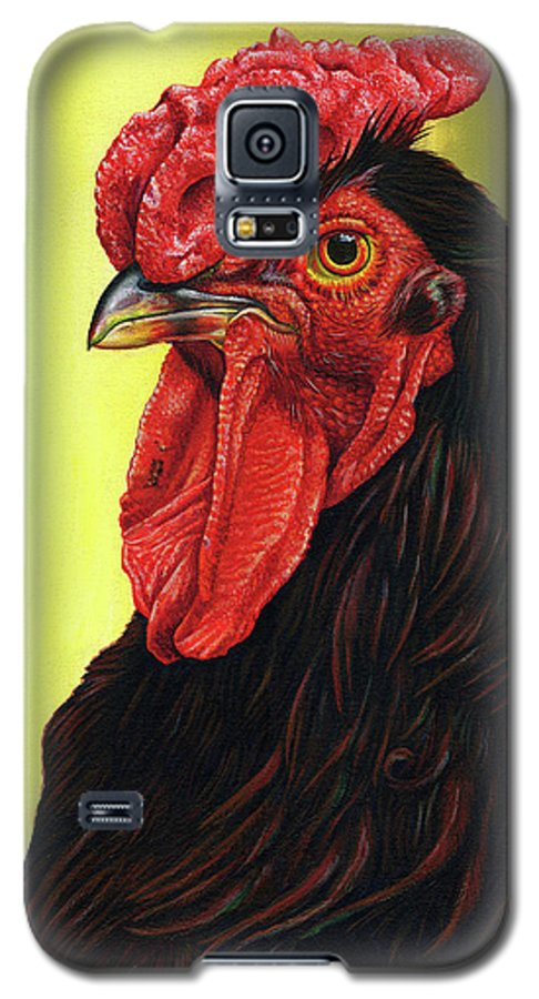 Rhode Galaxy S5 Case featuring the painting Fowl Emperor by Cara Bevan
