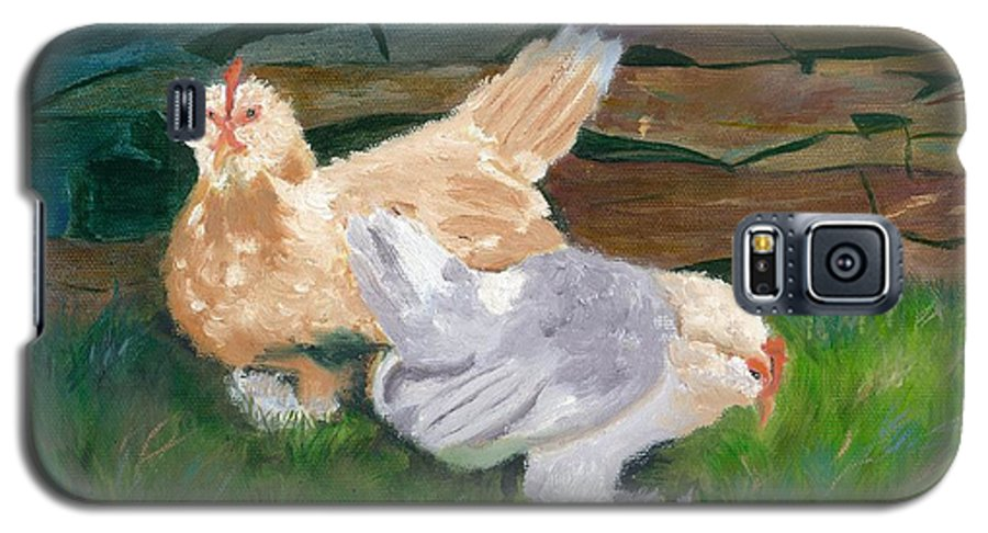 Chickens Bantams Countryside Stonewall Farm Galaxy S5 Case featuring the painting Fowl Play by Paula Emery