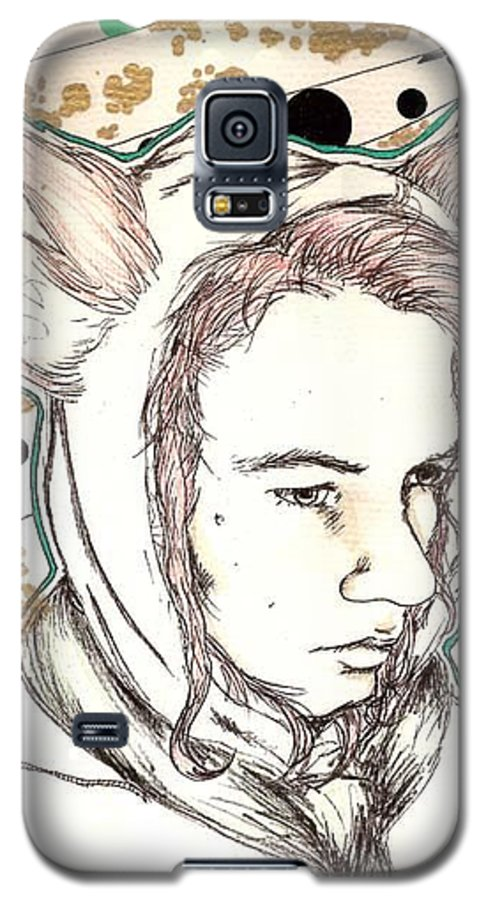 Ears Fow Star Boy Portrait Red Galaxy S5 Case featuring the drawing Fox by Freja Friborg
