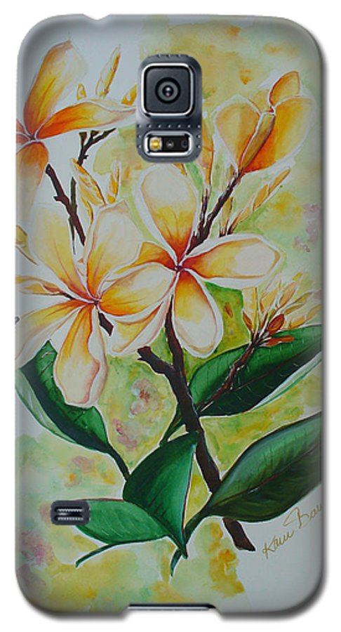 Galaxy S5 Case featuring the painting Frangipangi by Karin Dawn Kelshall- Best