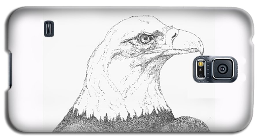 Eagle Galaxy S5 Case featuring the drawing Freedom by Debra Sandstrom
