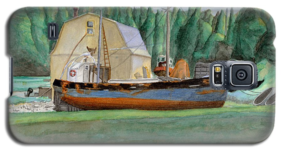 Fishing Boat Galaxy S5 Case featuring the painting Freeport Fishing Boat by Dominic White