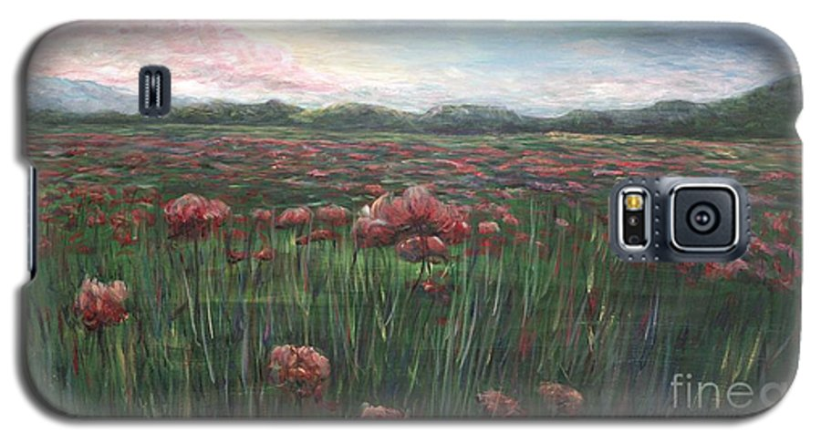 France Galaxy S5 Case featuring the painting French Poppies by Nadine Rippelmeyer