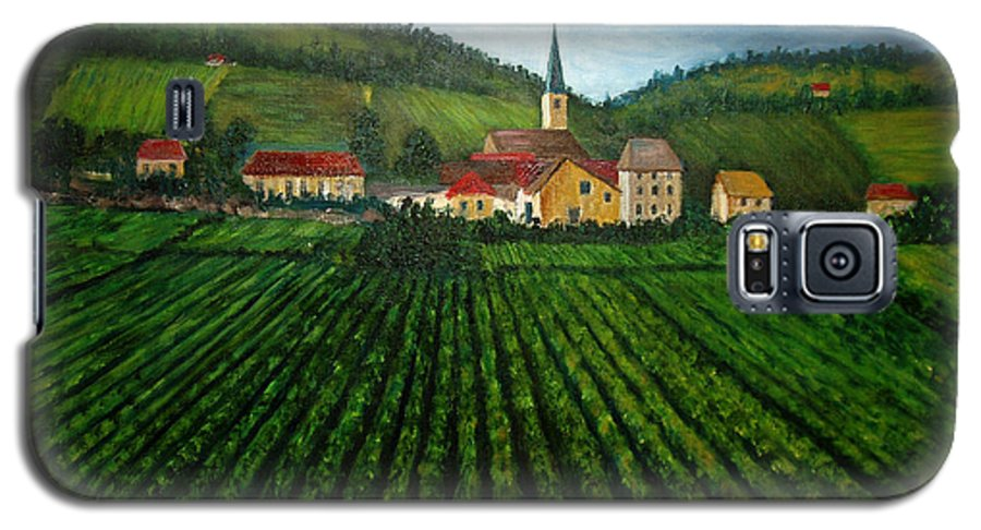 Acrylic Galaxy S5 Case featuring the painting French Village In The Vineyards by Nancy Mueller