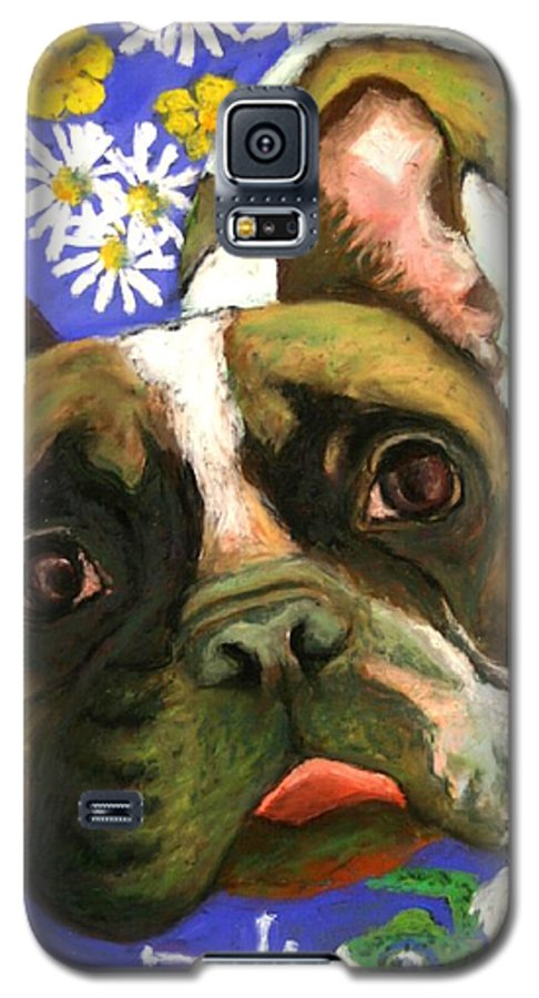 Pet Portrait Galaxy S5 Case featuring the painting Frenchie Plays With Frogs by Minaz Jantz