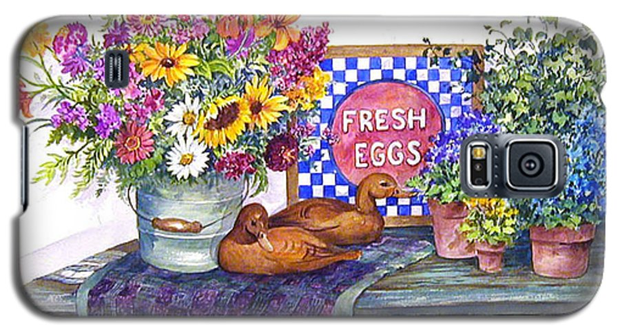 Watercolor;ducks;decoys;floral;mixed Bouquet;potted Plants;checkerboard;quilt; Galaxy S5 Case featuring the painting Fresh Eggs by Lois Mountz