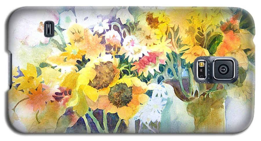 Contemporary;watercolor;sunflowers;daisies;floral; Galaxy S5 Case featuring the painting Fresh-picked by Lois Mountz