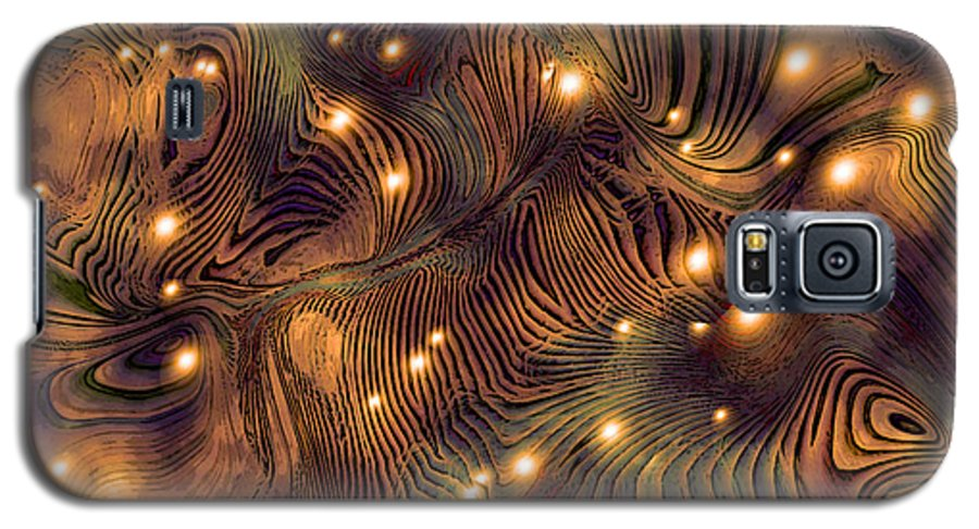Abstract Digital Art Painting Brown Gold Freshwater Fish Lights Texture Galaxy S5 Case featuring the painting Freshwater by Susan Epps Oliver